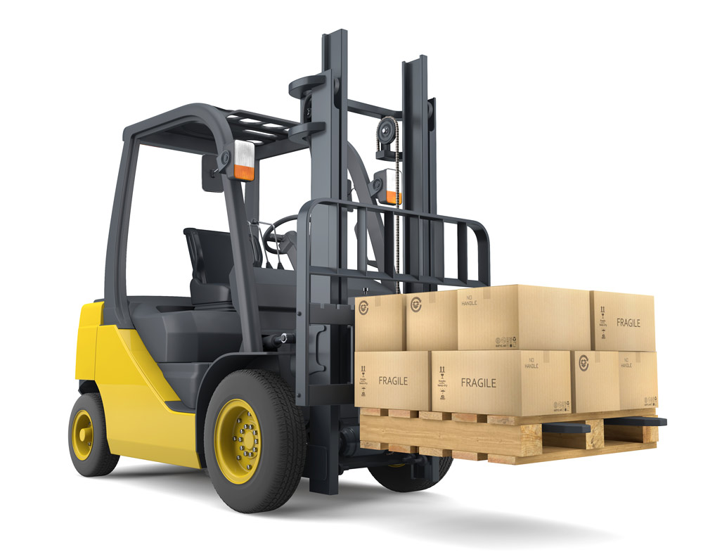 Fork Lift Moving Boxes